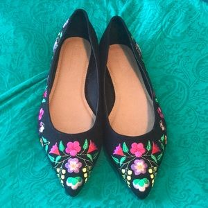 ASOS Shoes 9 1/2 Wide black flats with embroidery
